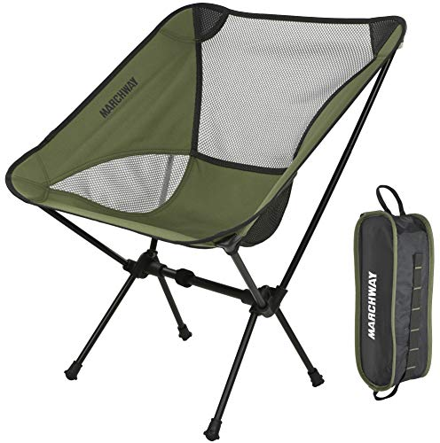 MARCHWAY Ultralight Folding Camping Chair, Portable Compact for Outdoor Camp, Travel, Beach, Picnic, Festival, Hiking, Lightweight Backpacking (Green)
