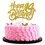 Artczlay14th Happy Birthday Cake Topper Flash Cake Topper 14th Anniversary Party Cake Decoration(gold)