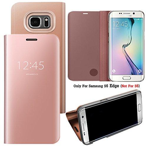 Guran® Spiegel Mirror Ledertasche Case für Samsung Galaxy S6 Edge (5.1 Zoll), Hohe Qualität Clear View Smartphone Flip Cover mit Stand Case Shell Handyhülle (Rose Gold)