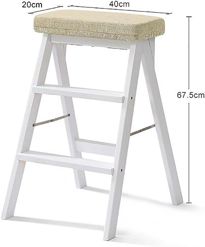 TH Klappstufen Treppe Hocker Massivholz-Falte Hocker Haushalts-Hocker Tragbare Klappstühle Multifunktions-Hocker Weiß 20  40  67,5 cm (Farbe   Style-3)