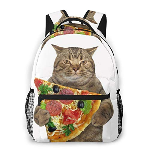 Funny Bookbags for Kids, Student Backpack for Girls, Backpack for Traveling The Cat Holds Pizza