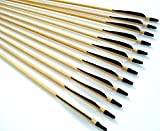 Shiny Black 12 Handsome, Premium Wood Arrows with Turkey Feathers & Stainless Steel Field Points - for Recurve, Compound, or Long Bow. Medium Spine Weight. 28 Inches.