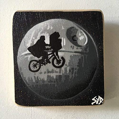 Death Star ET fusion | Spray painted stencil art | Star Wars artwork painting handmade picture on ash wood 14 x 15cm | Gift for him, her, Mum or Dad, signed limited edition piece