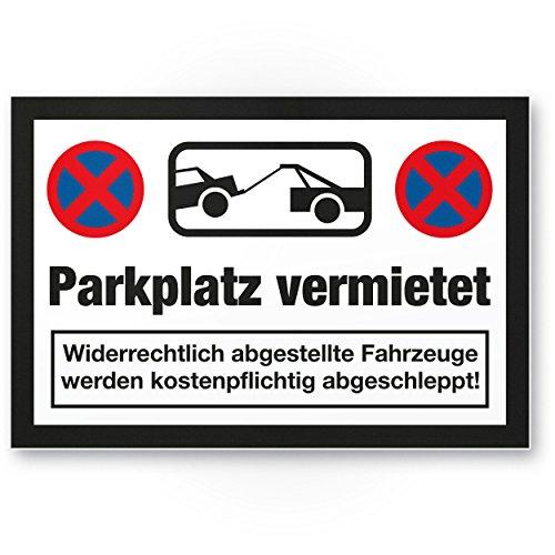Parkplatz vermietet Kunststoff Schild (weiß-schwarz, 30 x 20cm), Parkverbot SchildParken Verboten, Hinweisschild Privatparkplatz reserviert - freihalten, Parkplatzschild vermietet - Falschparker