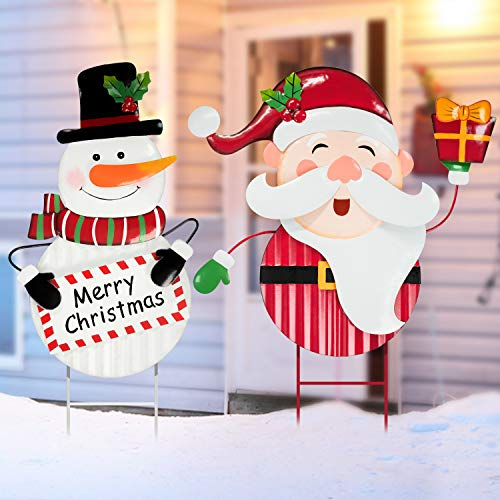 Rocinha Metal Christmas Yard Signs Santa Snowman Christmas Yard Stakes, Waterproof Outdoor Christmas Decorations Yard Stakes for Lawn Pathway Welcome Garden Sign, 29 inches, Pack of 2