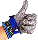 Safety Cut Proof Stab Resistant Stainless Steel Metal Mesh Butcher Work Glove High Performance Level 5 Protectioncut-Resistant Metal Slaughter Repair Carpentry For Meat Cutting, Fishing XL Blue