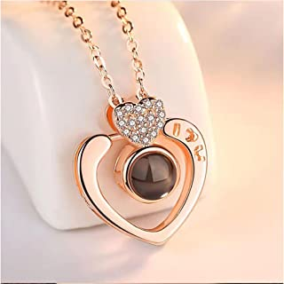 arrive Rose Gold Heart-shaped S925 sterling silver projection 100 languages I love you Charm pendant necklace for women ch...