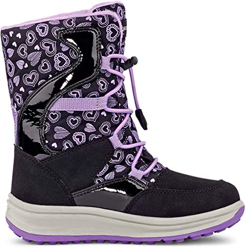 Geox Mädchen Snowboots Roby Girl WPF, Kinder Winterstiefel,Schneeboots,Thermostiefel,Moon Boots,Canadians,Black/Lilac,30 EU / 11.5 UK Child