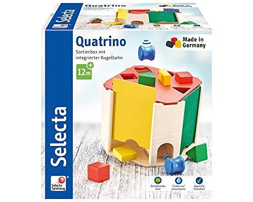 Selecta 62015 Quatrino, sorteer- en steekspel met binnenste kogelbaan van hout, 20 cm