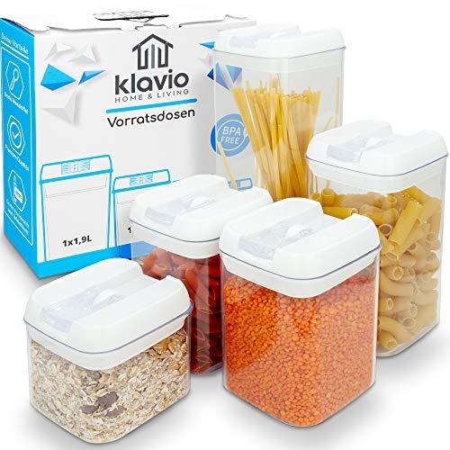 Klavio ®️ Vorratsdosen - Frischhaltedosen - BPA frei - 5 luftdichte und stabile Aufbewahrungsboxen für Müsli, Mehl, Zucker
