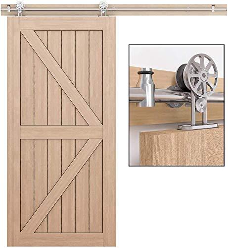 WINSOON - Kit de herrajes para puertas corredizas de acero inoxidable resistente a la oxidación de 150 cm, instalación silenciosa y fácil para una sola puerta (puerta no incluida)