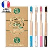 Brosse à dents en bambou en bois naturel par Charles Germain Cosmetics | brosse à dents biodégradable, brosse bambou écologique, brosse à dents (4 couleurs)