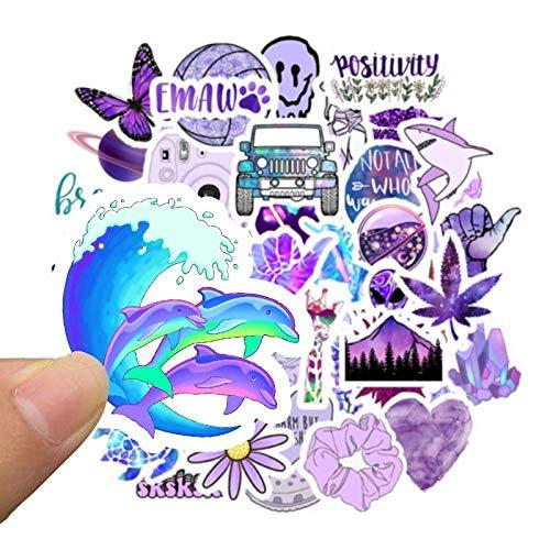 50 Stück lila süße Aufkleber für Skateboard Koffer Laptop Gitarre Gepäck Aufkleber Wasserdichte Schildkröte Welle Shaka