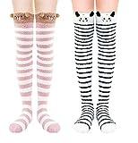 Chalier 2 Paar Kniestrümpfe Overknee Korallensamt für Frauen Strumpf, Strümpfe Damen Lange Socken, Katze Bär süße Geschenksocken