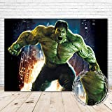 YR Superhero Hulk Backdrop 7x5 Happy Birthday Background Incredible Hulk Themed for Party Supplies Vinyl Avengers Hulk Baby Shower Backdrops for Boy