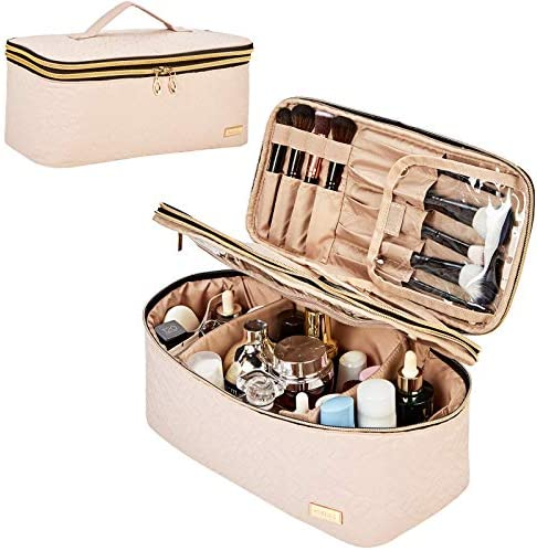 NISHEL Double Layer Makeup Bag Large Travel Cosmetic Case Makeup Organizer for Lots of Brushes product image