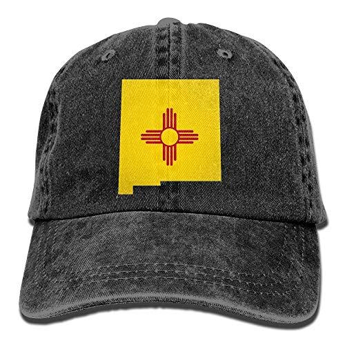 Hoswee Gorra de Béisbol Ajustable Mens Womens Baseball Cap Hat New Mexico Map Summer Jean Strapback Cap for Men
