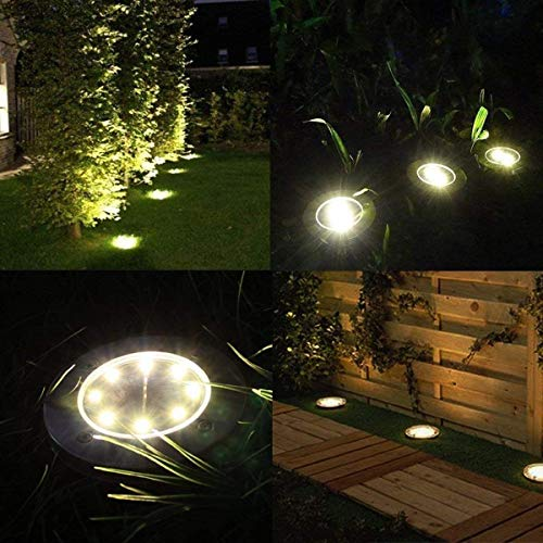 Solar Ground Lights - 8 Led Solar Garden Lights Outdoor,Disk Lights Waterproof In-Ground Outdoor Landscape Lighting for Lawn Patio Pathway Yard Deck Walkway Flood Light Dekugaa (8)