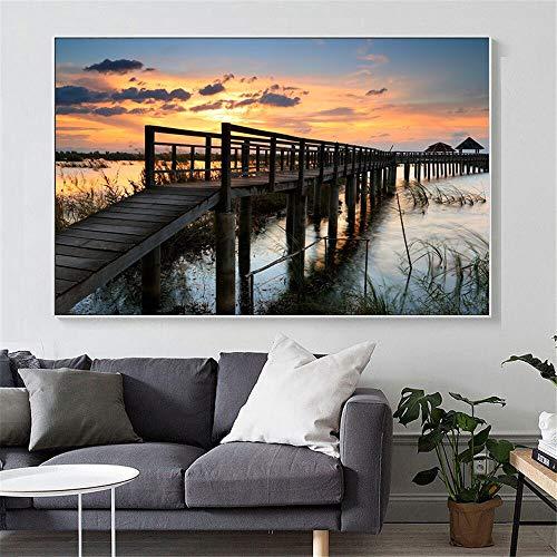 Landschaft Wandkunst Leinwand Malerei Holzbrücke Leinwand Malerei Landschaft Kunst Bild zu Hause Wanddekoration Rahmenlose Malerei 30cmX45cm