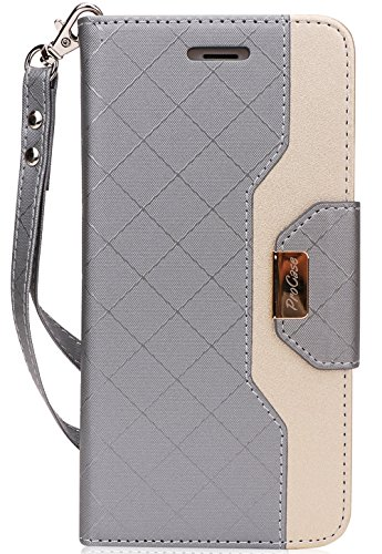 ProCase iPhone 8 Plus/7 Plus Wallet Case, Flip Fold Card Case Stylish Slim Stand Cover with Wallet Case for Apple iPhone 8 Plus/iPhone 7 Plus -Grey