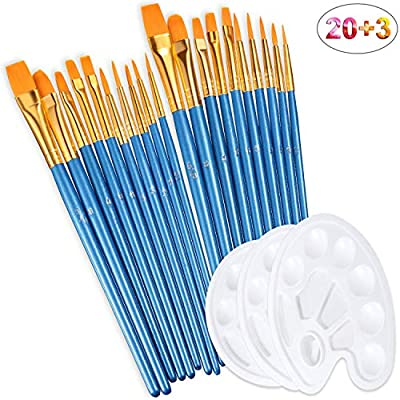 Outus 20 Pieces Paint Brushes Watercolor Fine Bright Art Paint Brush Set and 3 Pieces Paint Palette for Kids and Adults to Create Art Paint Pallet Tray Supplies