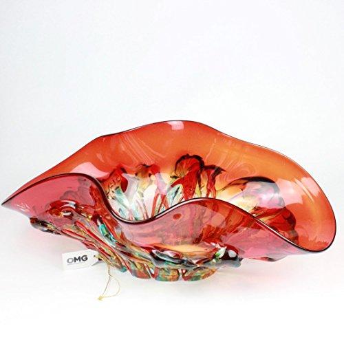 ORIGINAL MURANO GLASS OMG Artistic Mittelpunkt–Rot und Grün Details–Murano Glas Schale