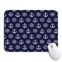 NINEHASA 可愛いマウスパッド ノートパソコン、マウスマット用のアンカー海軍ビーチかわいいノンスリップラバーバッキングマウスパッドで青の抽象的な海のパターン