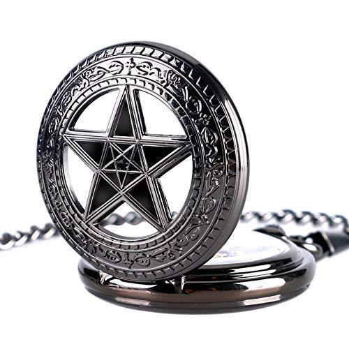J-Love Reloj Bolsillo mecánico Mano con Colgante Pentagrama, Reloj Bolsillo para Hombre, Regalo para Mujer, Reloj con Esfera esquelética Steampunk con Estrella Hueca Negra