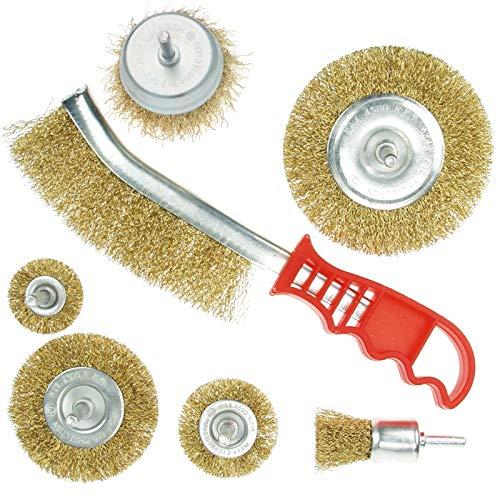 electrapick 7pcs Kit de Brosse Métallique pour Perceuse en laiton gratter rouille/peinture/crasse/polissage
