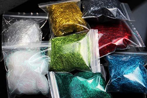 Tigofly 8 paquetes de 8 colores 2 g Ice Dubbing Ice Dub hilo de ala cuerpo trucha ninfa pesca con mosca atado materiales verde, rojo, dorado, plata perla