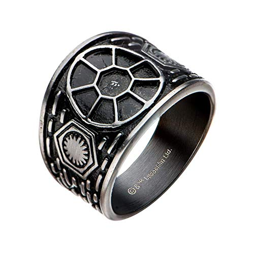 Star Wars: The Last Jedi Tie Fighter Signet Stainless Steel Ring, Size 9