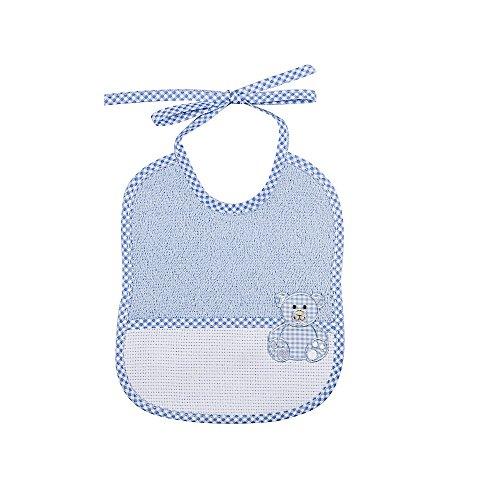 Bavetta neonato da ricamare BEAR cm.16x19 Bavaglino neonato con laccetti e fascia in etamine per il ricamo Spugna Cotone 100% Made in Italy