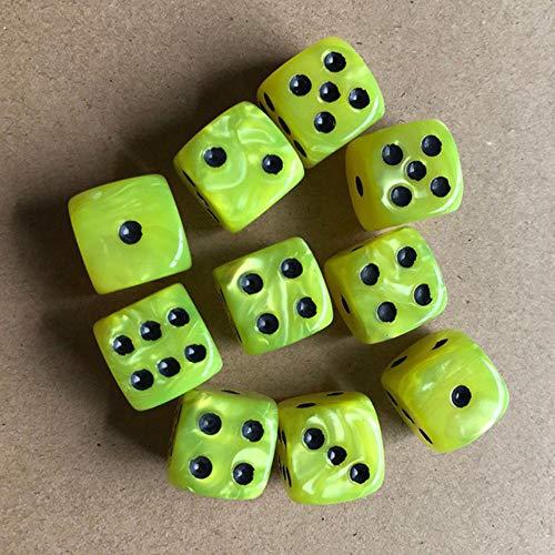 Fijnere 10 stks/set kleurrijke 6-zijdige dobbelstenen ronde hoek parel gem dobbelstenen 16mm speeltafel spel entertainment benodigdheden, geel