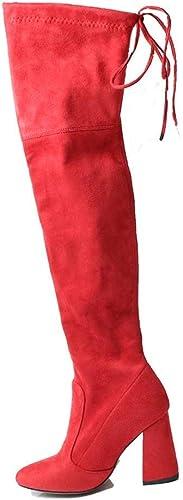 ZHRUI Bottes pour Femmes Flock Leather sur Le Le Genou à Lacets Chaussures à Talons Hauts Bottes d'hiver (Couleuré   Big rouge, Taille   5=38 EU)  meilleure offre