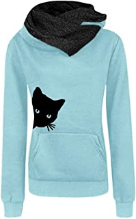 HGWXX7 Women's Casual Cat Print Long Sleeve Hooded Pullover Tops Blouse Sweatshirt