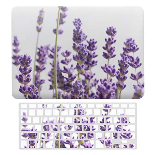 For MacBook Air 13 13 Inch Case A1466、A1369 Hard Shell Cover for MacBook Air 13 Case & Keyboard Cover, Purple Lavender Laptop Protective Shell Set