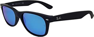 Ray-Ban New Wayfarer RB 2132 622/17 55mm Rubber Black / Blue Mirror New in Box