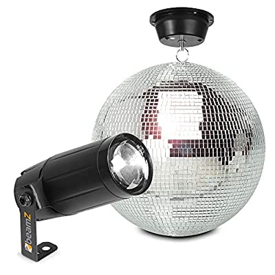 beamz Hanging Glitter Mirror Ball 30cm with Motor and PS6WB LED Spot Light for Wedding Disco Prom Dance Hall