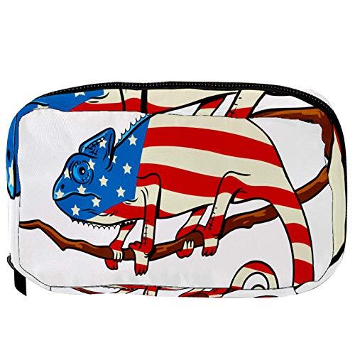 Make-up Taschen Tragbare Reise Kosmetiktasche Organizer Multifunktionskoffer Chamäleon-Körper gefärbt von der amerikanischen Flagge mit Reißverschluss-Kulturbeutel für Frauen