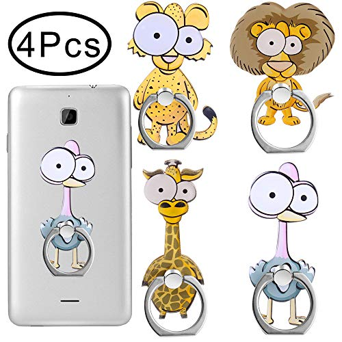 Outee 4 Pcs Cell Phone Ring Holder Cute Animal Finger Ring Grip 360 Swivel for Smartphones, Tablet (Lion, Giraffe, Ostrich, Leopard)