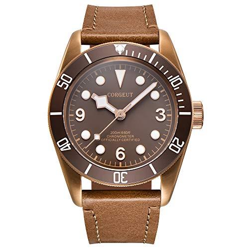 Corgeut Herren-Armbanduhr, analog, automatisch, mechanisch, mit Lederband, Miyota 8215 Uhrwerk, Braun