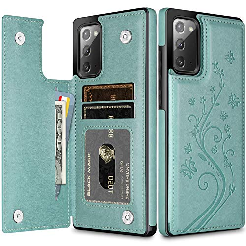 HianDier Wallet Case for Galaxy Note 20 5G 6.7-inch Slim Protective Case with Credit Card Slot Holder Flip Folio Soft PU Leather Magnetic Closure Cover for Galaxy Note 20 5G, Butterfly Green