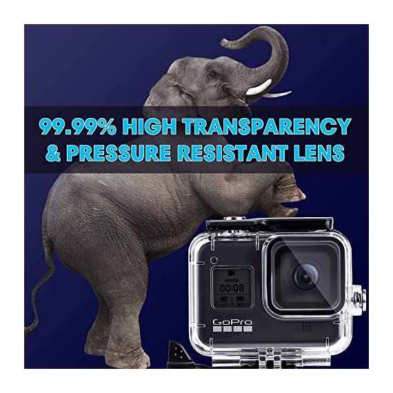 Waterproof Housing Case for GoPro Hero 8, 60M Diving Protective Housing Shell for Gopro Hero 8 Black Action Camera… 3 196FT/60M Gopro 8 Diving Case: Designed with waterproof seal and tightened buckle, REDTRON waterproof housing shell helps to prevent to water leakage effectively. You can use your Gopro Hero 8 to record underwater activities up to 196FT/60M without worrying about the leakage. HD Scratch-proof & Clear Shooting Underwater: The lens of Gopro 8 underwater photography housing is made of ultra-thick transparent tempered glass with with high light transmission which protect your Gopro 8 lens from being scratched and provides you a good shooting results. Upgraded Quick Release Buckle Mount: REDTRON protective housing case for Gopro 8 comes with a quick release buckle mount with 2 type screws. You can attach your Grpro 8 black to accessories such as tripod, bicycle mount, suction cup mount. (Note: accessories are NOT included)