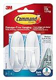 Command Medium Designer Bath Hooks, White, 2-Hooks, 4-Water-Resistant Strips, Organize Damage-Free