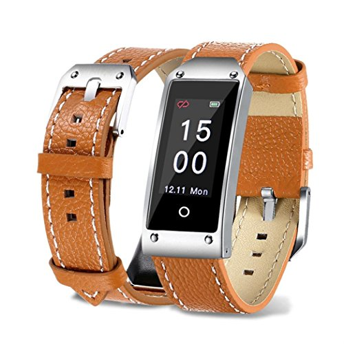 Fuibo Smartwatch, Y2 Farbe Bildschirm Blutdruck / Herzfrequenz Armband Smart Watch Armband Sport   Intelligente Armbanduhr Sport Fitness Tracker Armband (Braun)