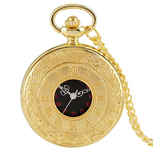 Reloj de Bolsillo de Cuarzo con Pantalla de números Romanos Retro Antiguo, Collar de Plata y Oro con Colgante de Moda, Reloj Colgante para Hombres, Mujeres, Cadena de Oro