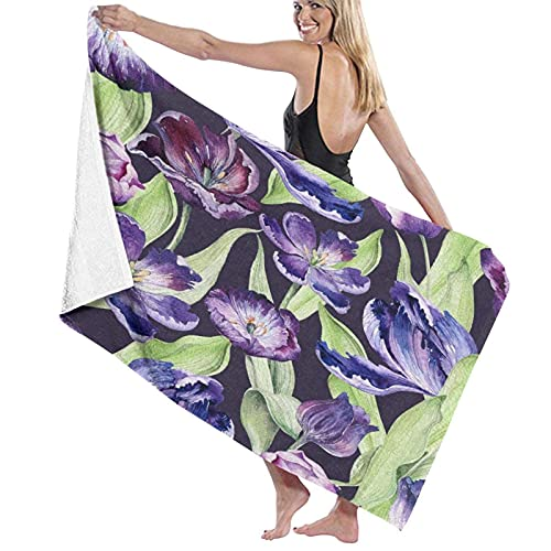 KAYLRR Large Soft Microfiber Toalla de baño Blanket,Watercolor Violet Tulip Purple Blossom Flowers,Bath Sheet Beach Towel for Family Hotel Travel Swimming Sports,52'x32'