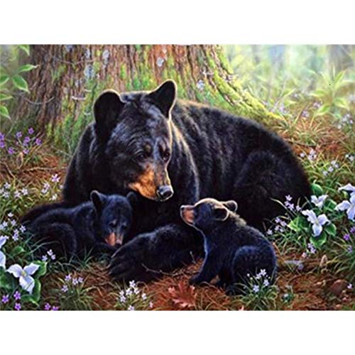 Diamond Painting Kits for Adults, Kids. Office Decoration, Home Room Bear Cub & Mother Bear 15.7x11.8 in By Bemaystar