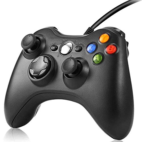 RegeMoudal Xbox 360 PC Game Wired Controller for Microsoft Xbox 360 and Windows PC (Windows 10/8.1/8/7) with Dual Vibration and Ergonomic Wired Game Controller. (Renewed)