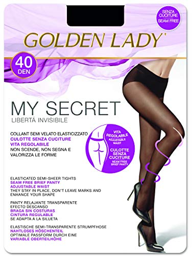 GOLDEN LADY My Secret 40 3P Collant, 40 DEN, Nero (Nero 099A), X-Large (Taglia produttore:5 – XL) (Pacco da 3) Donna
